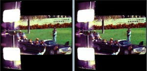 This is a comparison of frame 231 of the Zapruder film. Left raw image. Right deblurred.